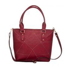 Aliado Faux Leather Solid Maroon Zipper Closure Tote Bag