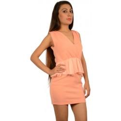 Oh My Love Peach Peplum Dress