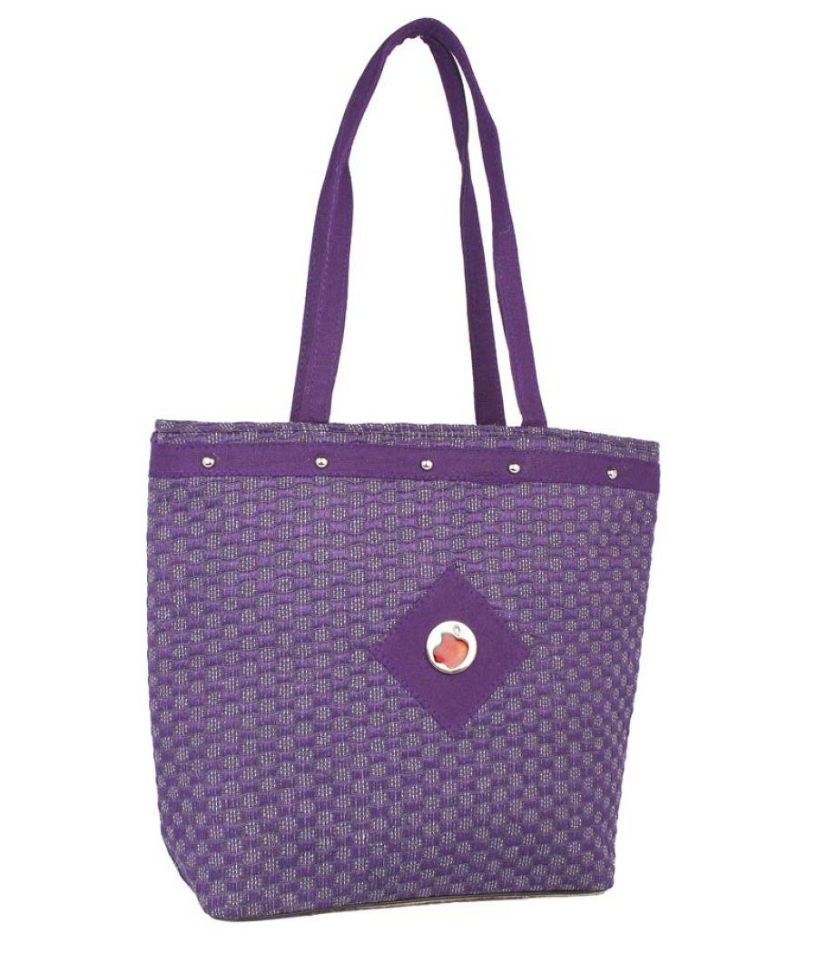 Aliado Jute Purple  Coloured Zipper Closure Bag