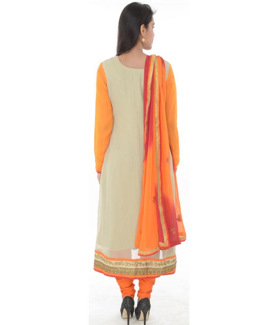 Etashee Certified Orange & Cream Embroidered Suit