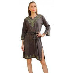Induyca Grey Embroidered Kurti