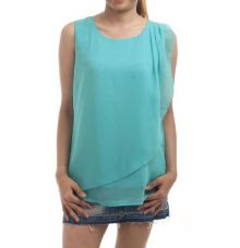 Miss Rich Georgette Solid Mint Sleeveless U Neck Crossover Top