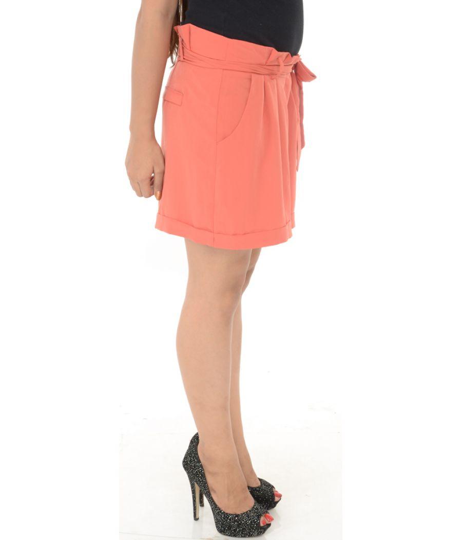 Miss Selfridge Orange Knot Detailed Shorts