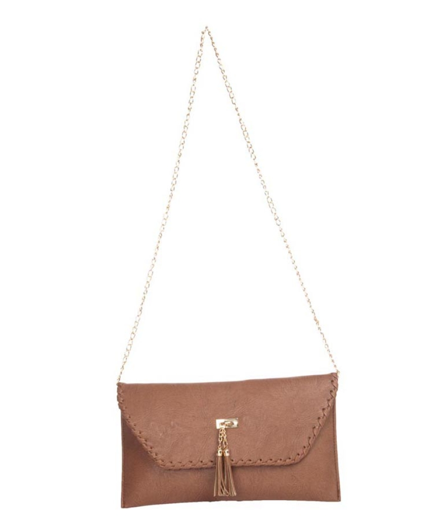Envie Faux Leather Brown Fold Over Magnetic Snap Closure Bag