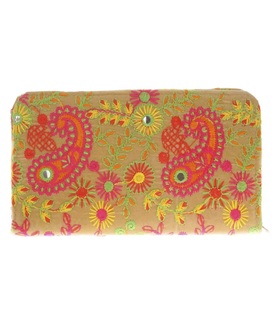 Envie Cloth/Textile/Fabric Embroidered Cream & Multi Minaudiere Style Wallet