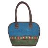 Aliado Cloth Fabric Blue and Green Coloured Zipper Closure  Handbag