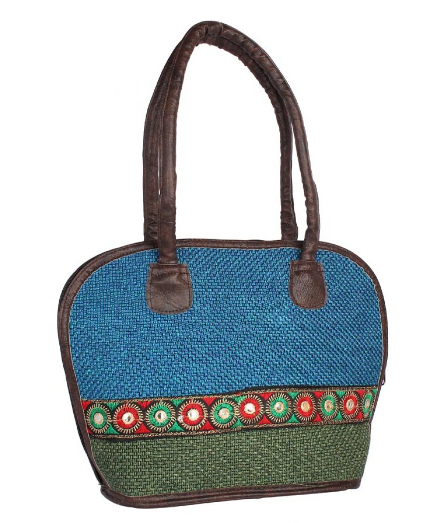 Aliado Cloth Fabric Blue and Green Coloured Zipper Closure  Handbag
