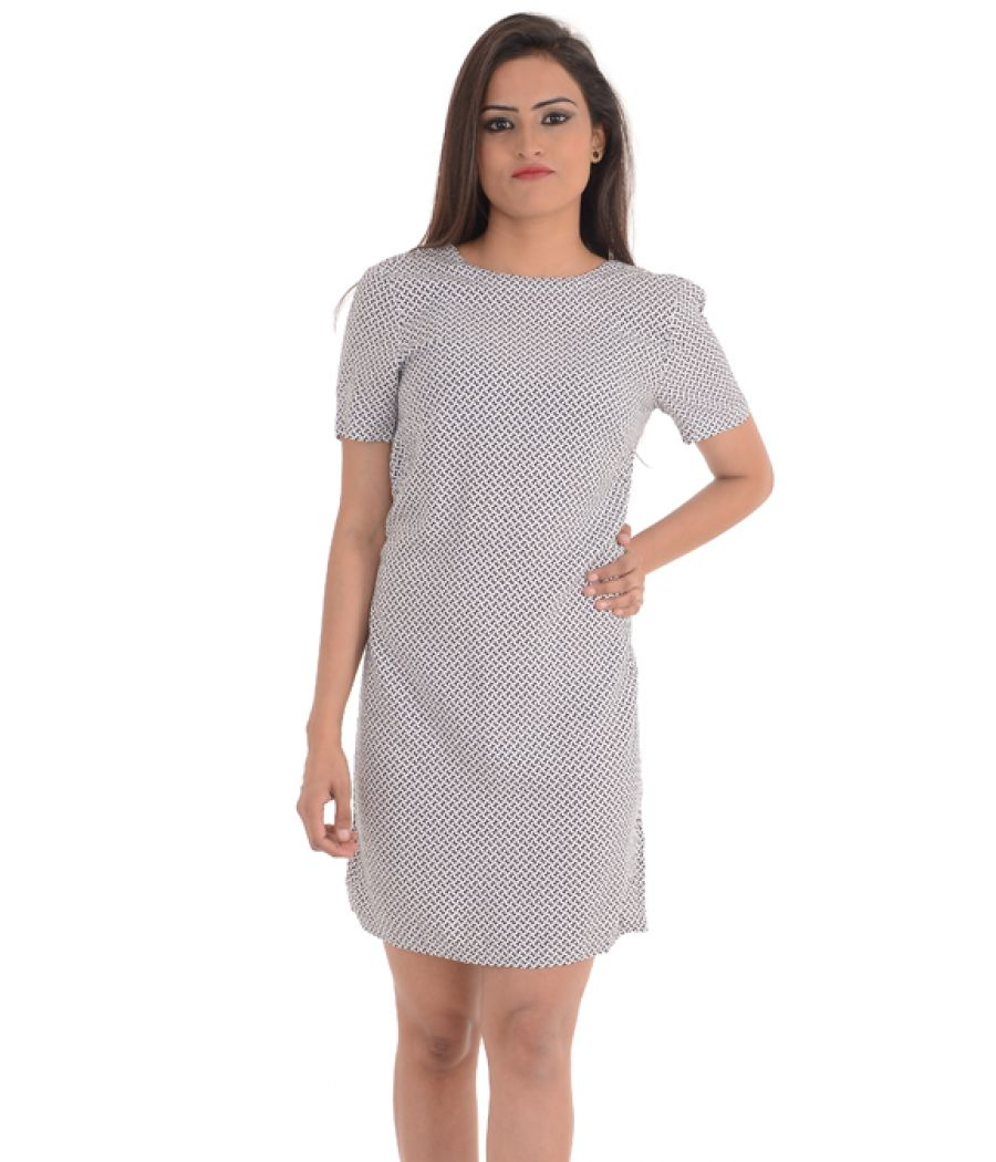 H & M Black and White Printed A-line Mini Dress