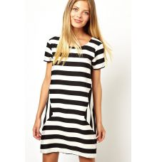 Vero Moda Polyester Striped Shift Black/White Dress