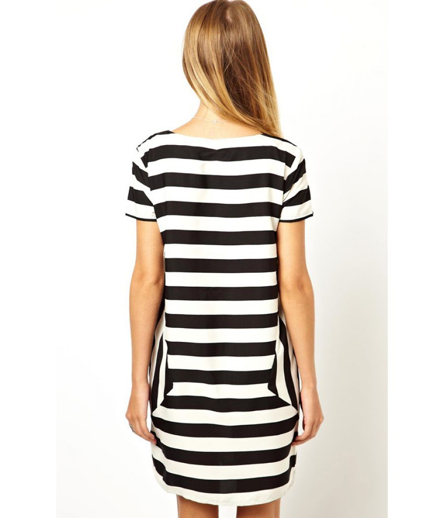 Vero Moda Polyester Striped Shift Black/White Dress