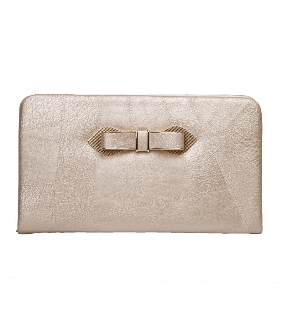 Envie Faux Leather Solid Cream Zipper Closure Minaudiere Style Clutch for Women