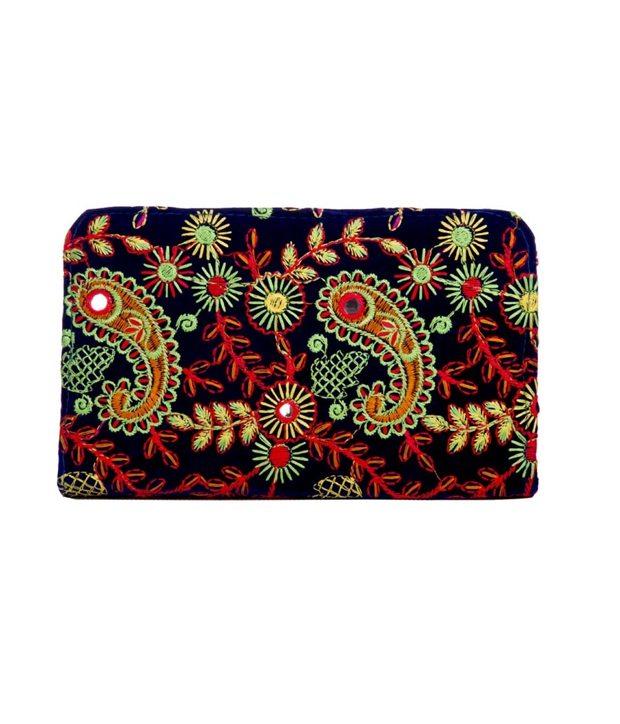 Envie Cloth/Textile/Fabric Embroidered Blue & Multi Zipper Closure Wallet