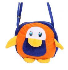 Envie Faux Fur Orange and Blue  Coloured  Zipper Closure Sling Bag