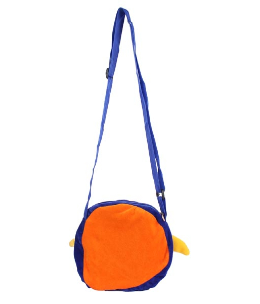 Envie Faux Fur Orange and Blue  Coloured  Zipper Closure Sling Bag