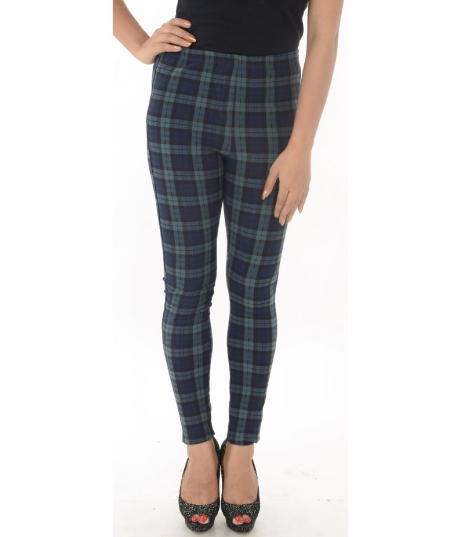 Top Shop Blue/Black Checkered Trousers