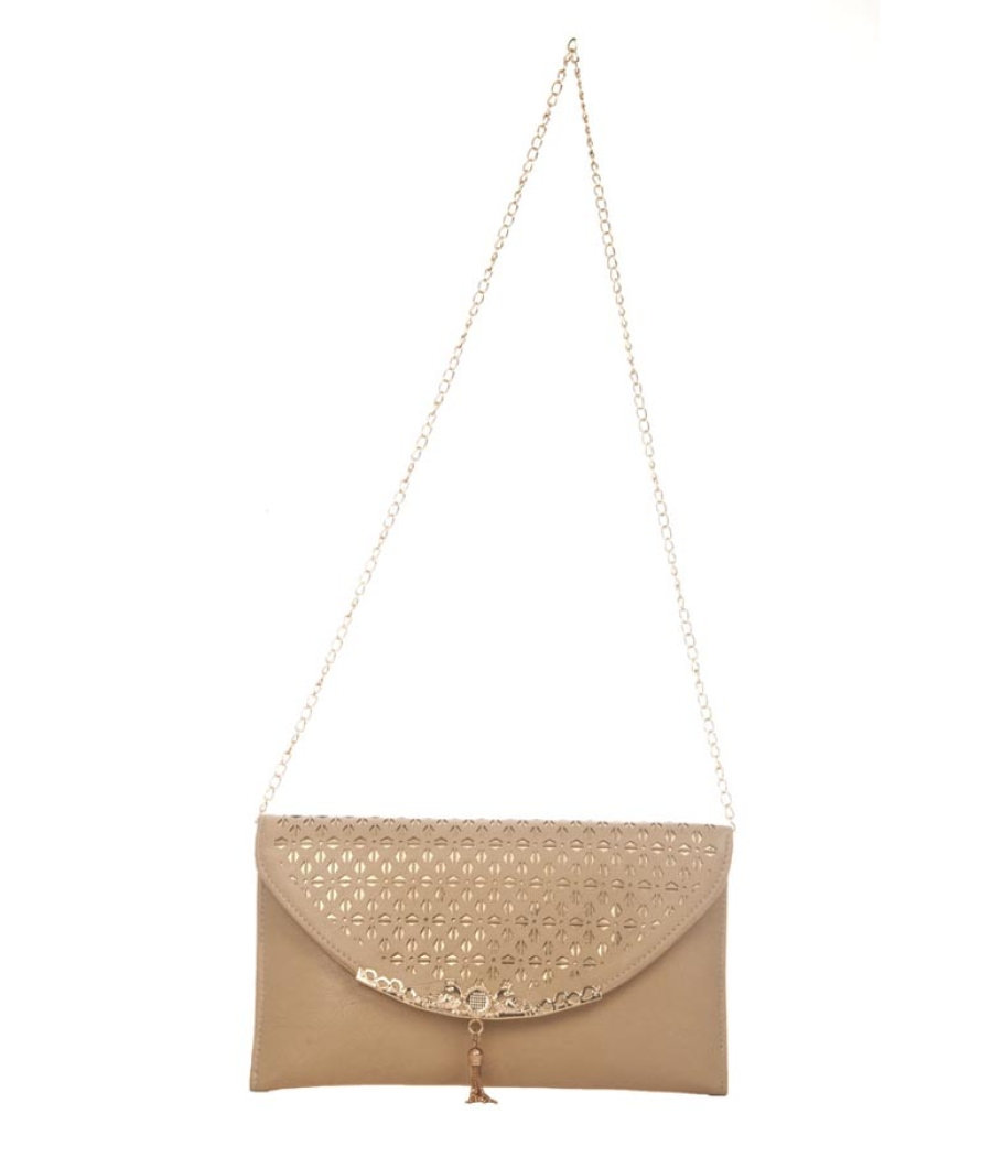 Envie Faux Leather Solid Brown Fold Over Magnetic   Snap Sling Bag for Women