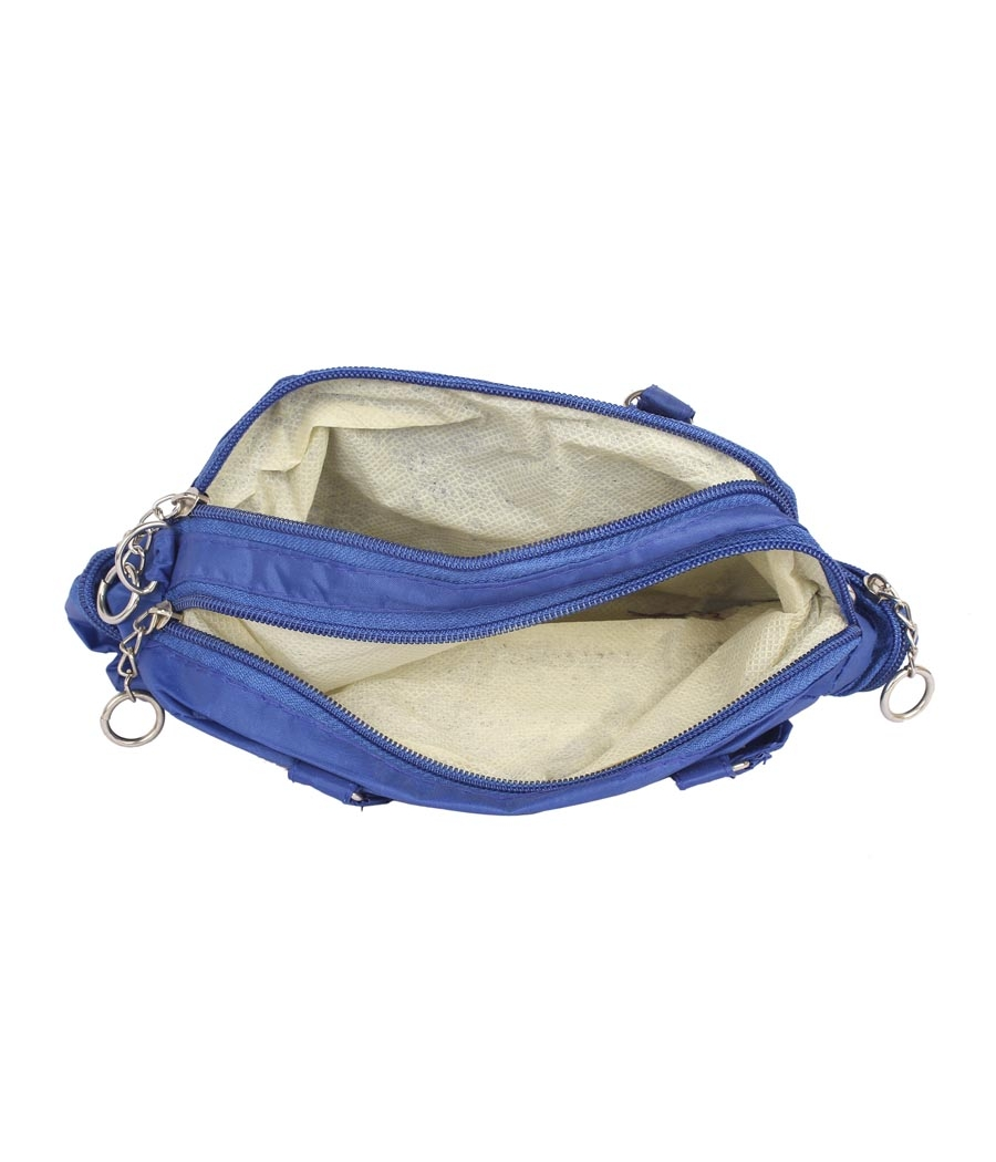 Aliado Blue   Coloured Solid Zipper Closure Sling Bag