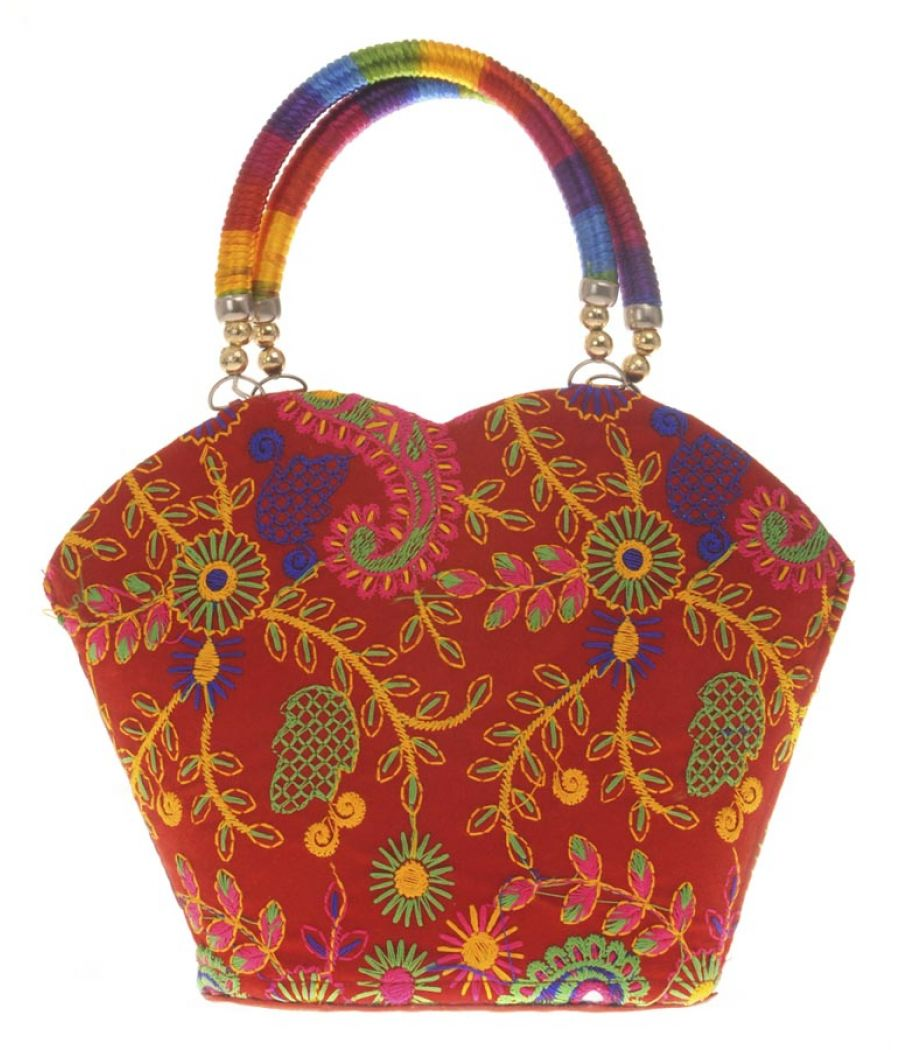 Envie Cloth/Textile/Fabric Embroidered Red & Multi Tote Bag