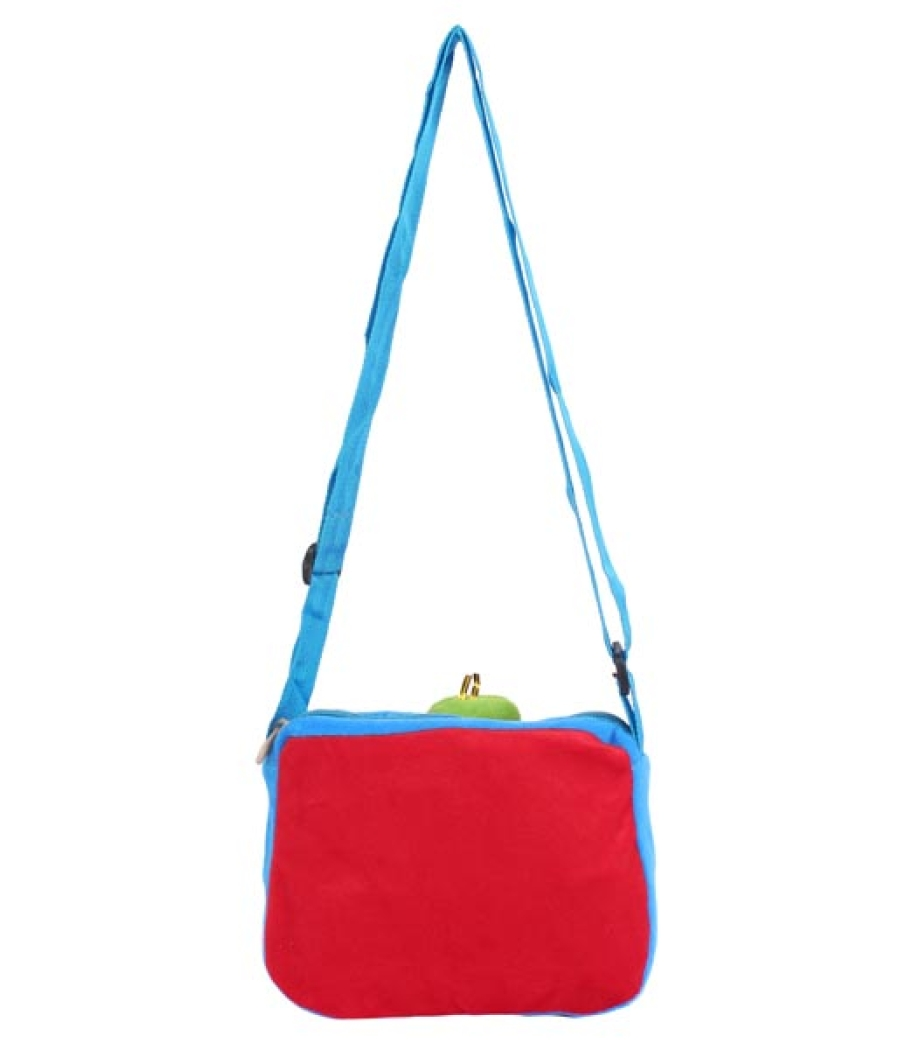 Envie Faux Fur Blue and Red  Coloured Zipper Closure Sling Bag