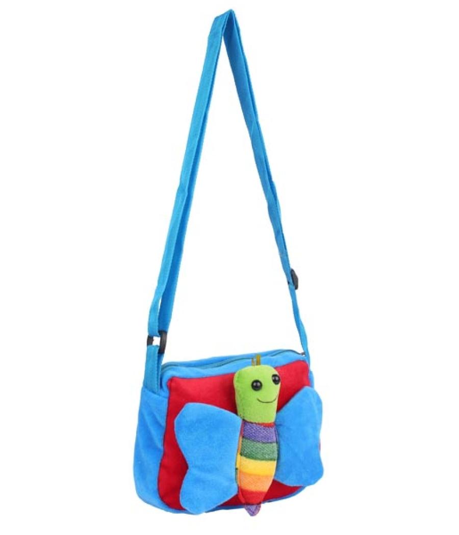 Envie Faux Fur Blue and Red  Coloured Zipper Closure Sling Bag