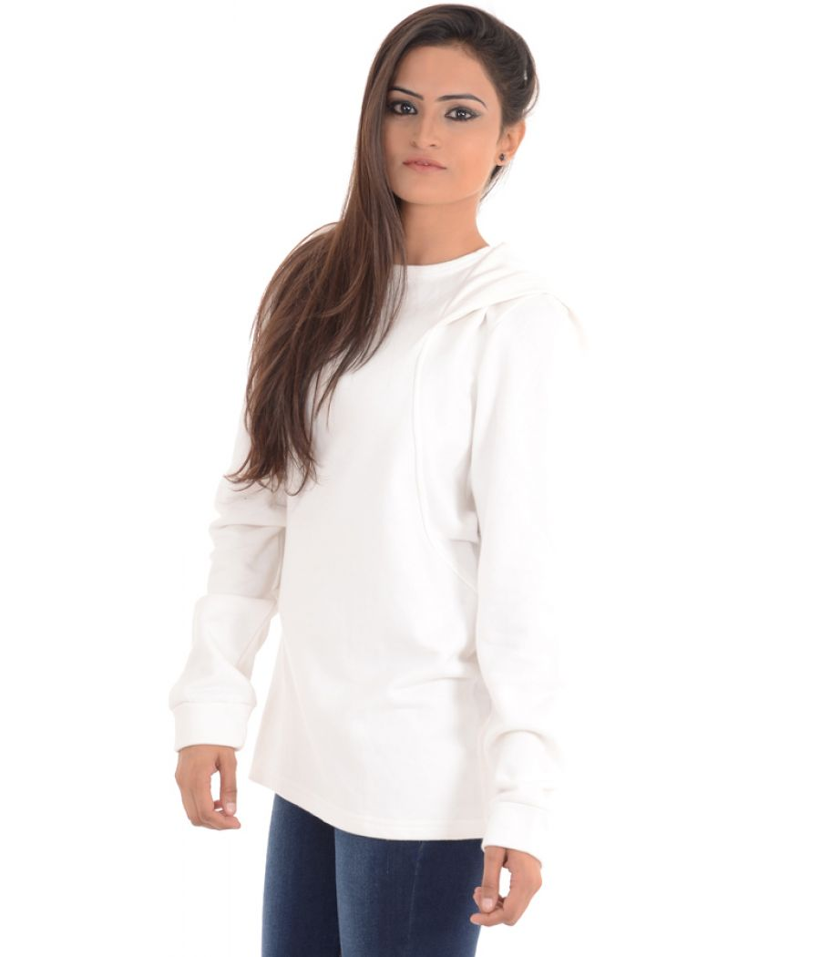 W Cotton Blend Solid White Sweater
