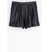 Zara Basic Faux Leather Black Shorts