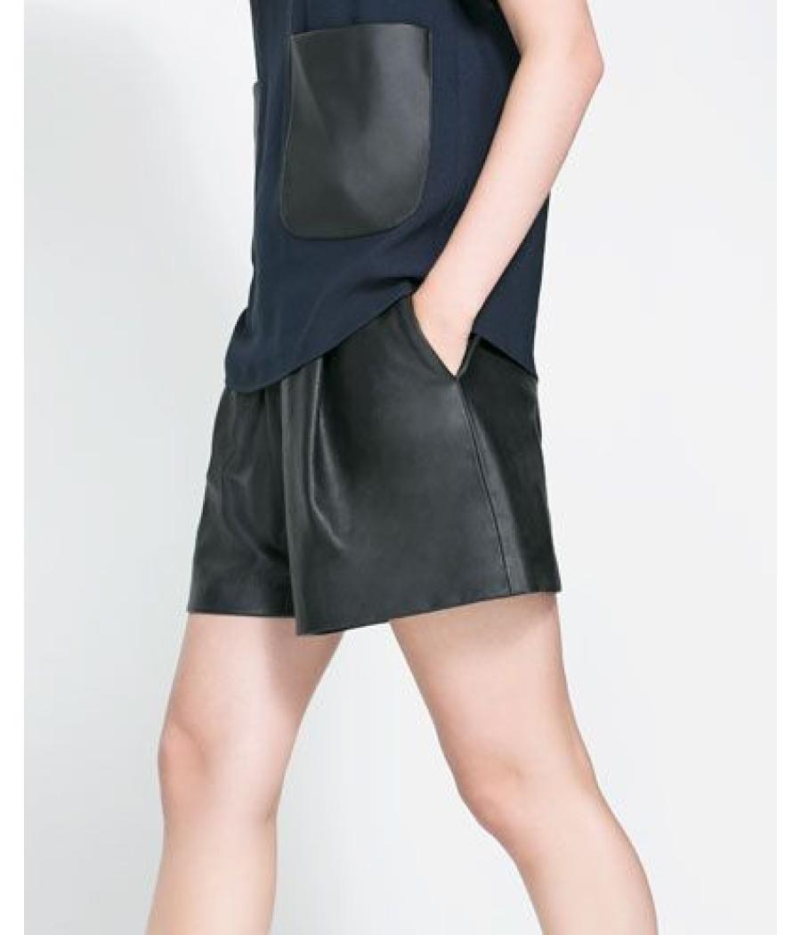 Zara Basic Faux Leather Black Shorts