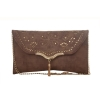 Envie Faux Leather Solid Brown Fold Over Magnetic Snap Crossbody Bag