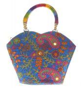Envie Cloth/Textile/Fabric Embroidered Blue & Multi Zipper Closure Tote Bag