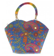 Envie Cloth/Textile/Fabric Embroidered Blue & Multi Zipper Closure Tote Bag