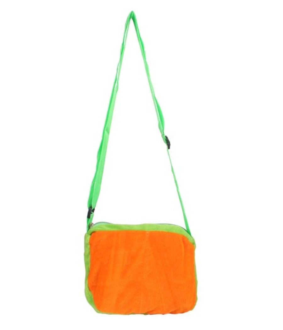 Envie Faux Fur Green and Orange   Coloured Zipper Closure Sling Bag