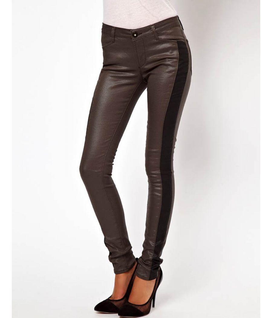 Asos Metallic Grey Faux Leather Jeans