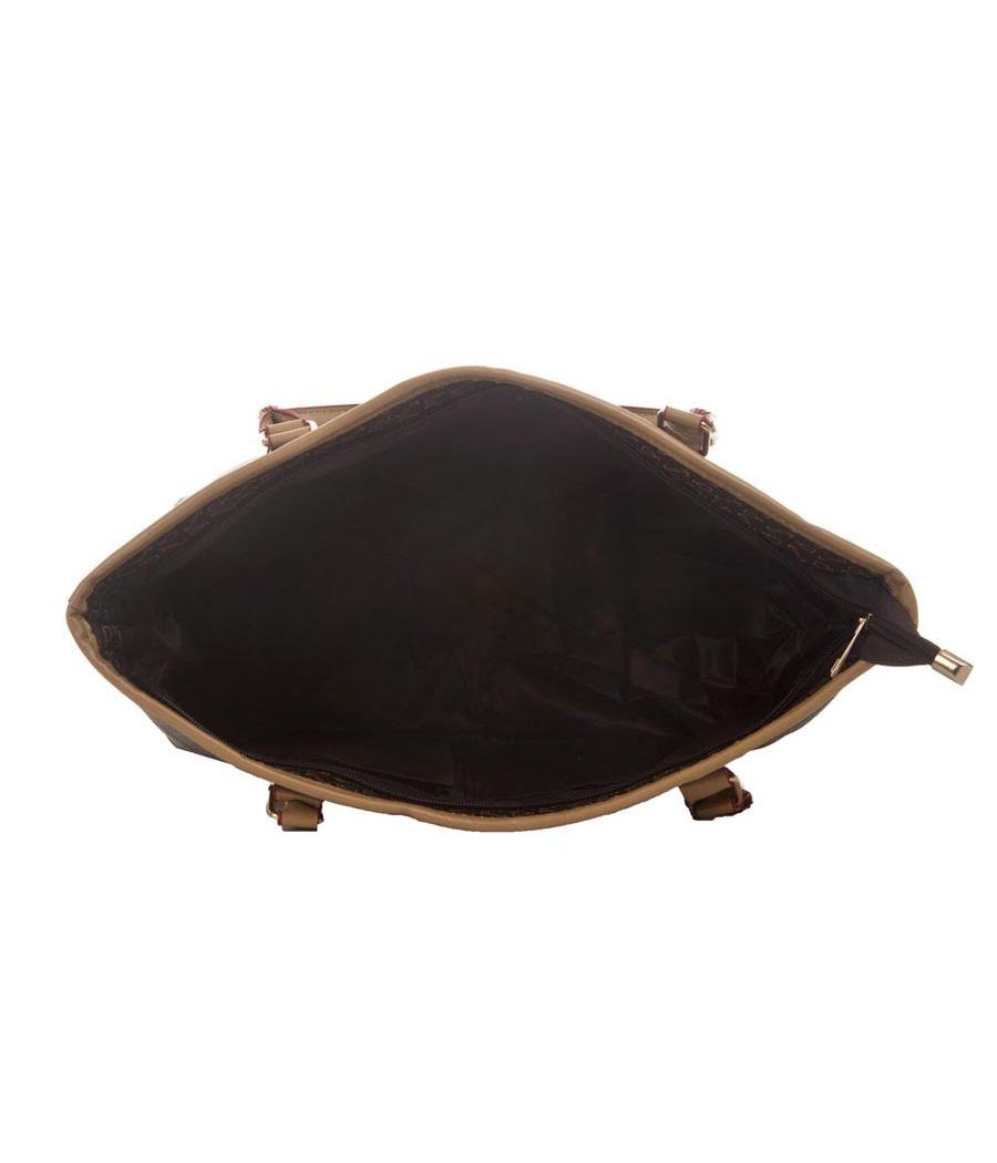 Aliado Faux Leather Printed Black Zipper Closure Handbag