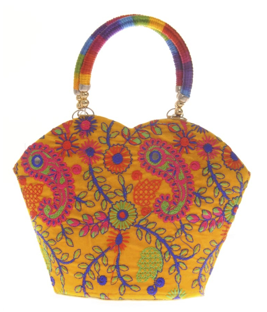 Envie Cloth/Textile/Fabric Embroidered Yellow & Multi Tote Bag
