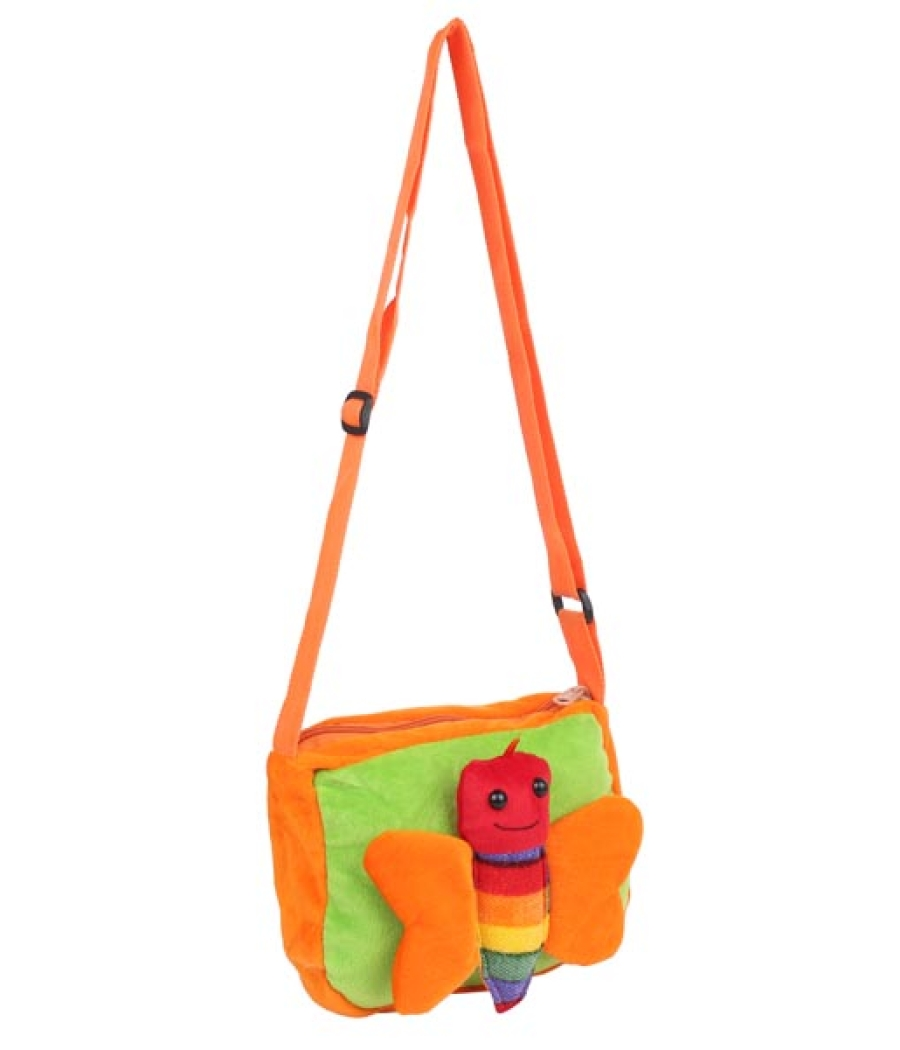 Envie Faux Fur  Orange and Green  Coloured Zipper Closure Sling Bag