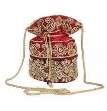Aliado Velvet Embellished Red and Gold Coloured Potli Bag