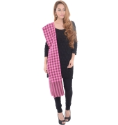 Pink Checkered Fringed Stole
