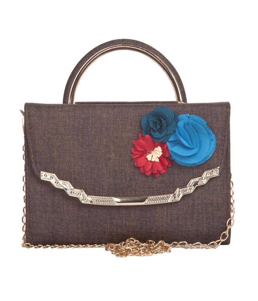 Envie Faux Leather Printed Grey Melange Coloured Magnetic Snap Sling Bag