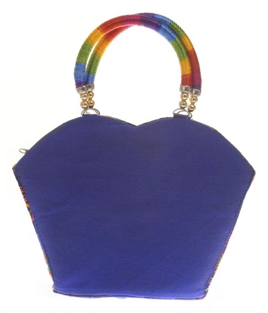 Envie Cloth/Textile/Fabric Embroidered Blue & Multi Tote Bag