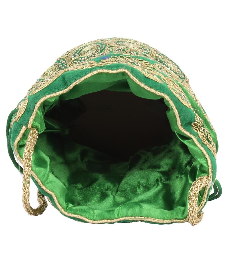 Aliado Velvet Embellished Green and Gold Coloured Potli Bag