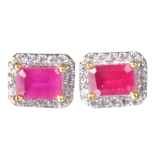 Etashee Pink & White Stone Studs