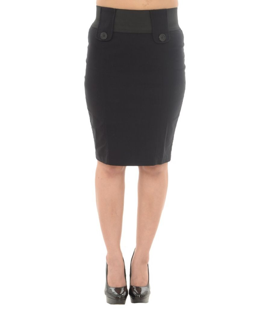 Asos Viscose Blend Black Pencil Skirt