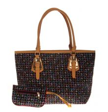 Aliado Faux Leather Printed Black & Multi Zipper Closure Tote Bag