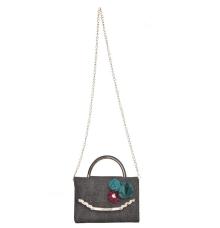 Envie Faux Leather Black Embellished Fold Over Magnetic Snap Sling Bag