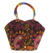 Envie Cloth/Textile/Fabric Embroidered Black & Multi Zipper Closure Tote Bag