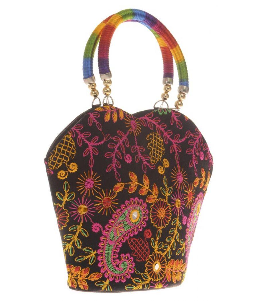 Envie Cloth/Textile/Fabric Embroidered Black & Multi Zipper Closure Tote Bag
