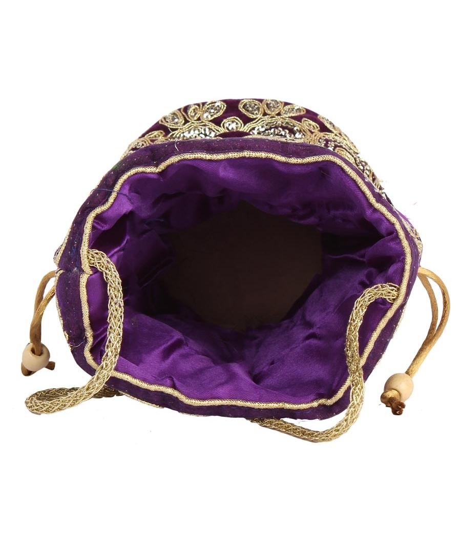 Aliado Velvet Embellished Purple and Gold Coloured Potli Bag