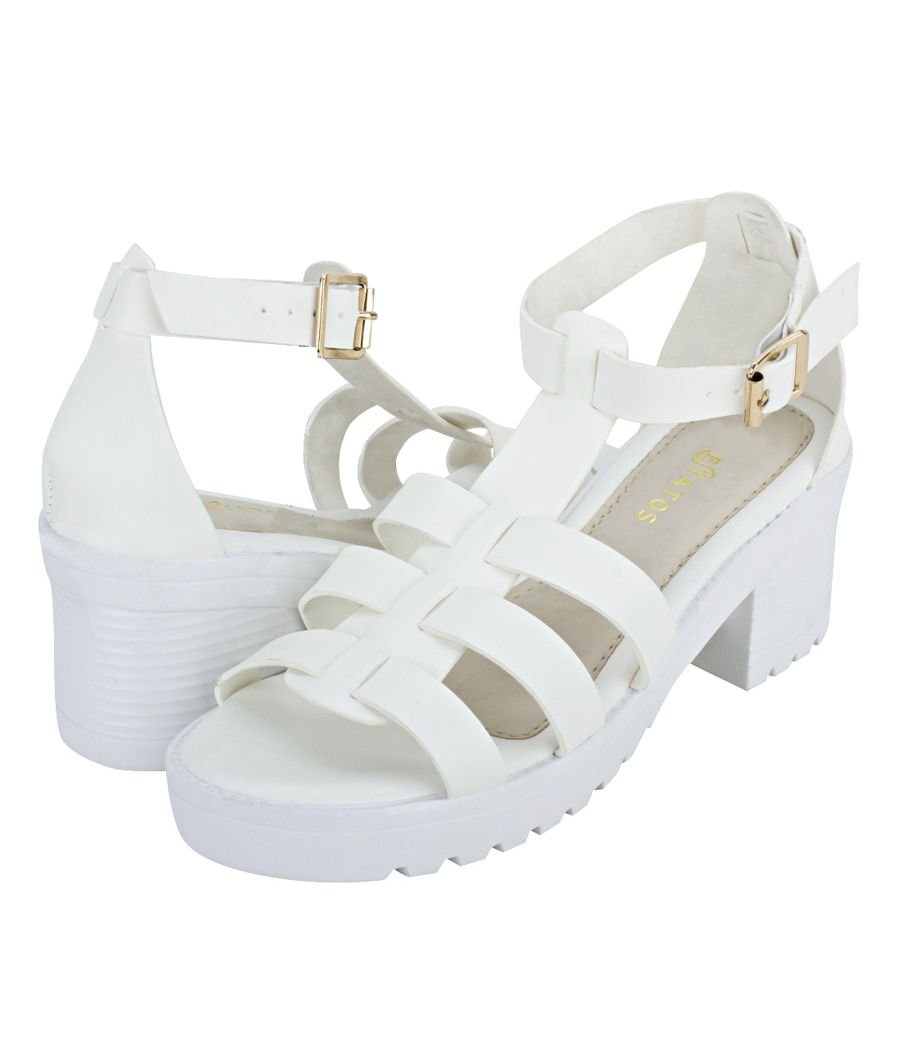 Estatos Faux Leather Block Heel Platform Sole Strappy White Gladiator Sandals for Women