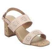 Estatos Leather Pink Buckle Closure Broad Strap Block Heel Sandals