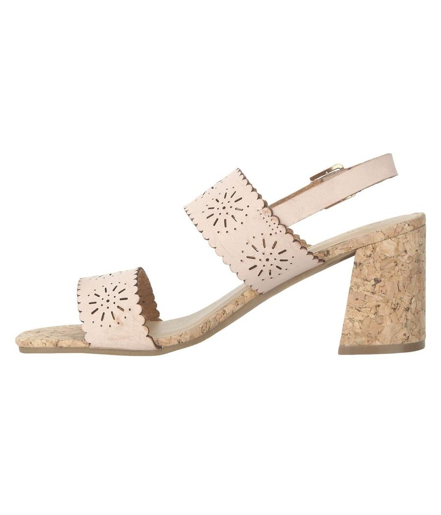 Estatos Leather Pink Buckle Closure Broad Strap Block Heel Sandals